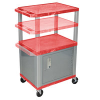 Luxor WT2642RC4E-N Red Tuffy 2 Shelf Adjustable Height A/V Cart with Nickel Legs and Locking Cabinet - 18 inch x 24 inch