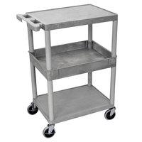 Luxor STC212-G Gray 2 Flat/1 Tub Shelf Utility Cart - 24 inch x 18 inch