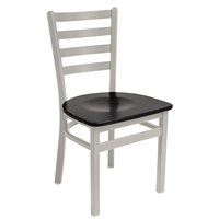 BFM Seating 2160CBLW-SM Lima Silver Mist Steel Side Chair with Black Wooden Seat