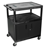 Luxor LE40C-B Black 2 Shelf A/V Cart with Electrical Assembly and Locking Cabinet - 32 inch x 24 inch x 40 1/4 inch