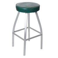 BFM Seating 2520BGNV-SM Kyle Silver Mist Metal Barstool with Green Vinyl Swivel Seat