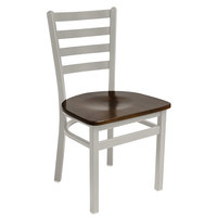 BFM Seating 2160CWAW-SM Lima Silver Mist Steel Side Chair with Walnut Wooden Seat