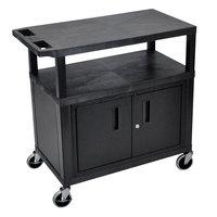 Luxor EC34C-B Black 3 Shelf Utility Cart with Cabinet - 32 inch x 18 inch x 34 1/2 inch