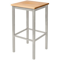BFM Seating 2510BNTW-SM Trent Silver Mist Steel Bar Stool with Natural Wooden Seat