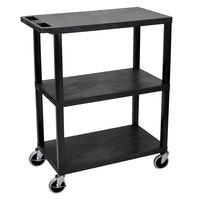 Luxor EA42-B 3 Shelf Black 35 1/4 inch x 18 inch x 42 1/2 inch Presentation Cart
