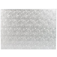 Enjay 1/2-1331834S12 18 3/4 inch x 13 3/4 inch Fold-Under 1/2 inch Thick 1/2 Sheet Silver Cake Board