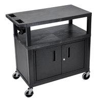 Luxor EA34CE-B 3 Shelf Black 35 1/4 inch x 18 inch x 34 1/2 inch Presentation Cart with Locking Cabinet