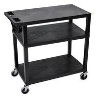 Luxor EA34E-B 3 Shelf Black 35 1/4 inch x 18 inch x 34 1/2 inch Presentation Cart