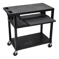 Luxor EA34LE-B 3 Shelf Black 35 1/4 inch x 18 inch x 34 1/2 inch Presentation Cart with Keyboard Shelf