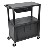 Luxor EC38CD-B Black 3 Shelf Utility Cart with Cabinet and Drawer - 32 inch x 18 inch x 37 1/2 inch