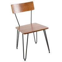 BFM Seating JS44CASH-AASB NV Side Chair with Sand Black Steel Wire Frame and Autumn Ash Veneer Wood Seat and Back