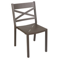 BFM Seating PH802CBZ Fresco Cross Back Aluminum Stackable Side Chair with Bronze Powder Coat