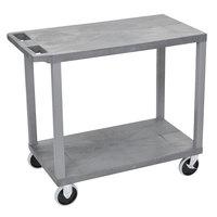 Luxor EC22HD-G Gray Heavy-Duty 2 Flat Shelf Utility Cart - 35 1/4 inch x 18 inch x 31 1/2 inch