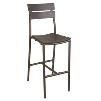 BFM Seating PH302BBR-BZ Bayview Bronze Aluminum Bar Height Chair with Brown Synthetic Teak Back and Seat