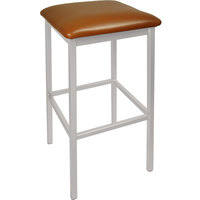 BFM Seating 2510BLBV-SM Trent Silver Mist Steel Bar Stool with 2 inch Light Brown Vinyl Seat