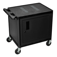 Luxor LE27C-B Black 2 Shelf A/V Cart with Electrical Assembly and Locking Cabinet - 32 inch x 24 inch x 27 inch