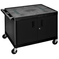 Luxor LE27C2-B Black 2 Shelf A/V Cart with Electrical Assembly and Locking Cabinet - 32 inch x 24 inch x 27 inch