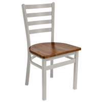 BFM Seating 2160CASH-SM Lima Silver Mist Steel Side Chair with Autumn Ash Wooden Seat