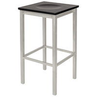 BFM Seating 2510BBLW-SM Trent Silver Mist Steel Bar Stool with Black Wooden Seat