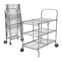 Luxor WSCC-3 3 Shelf Collapsible Wire Utility Cart