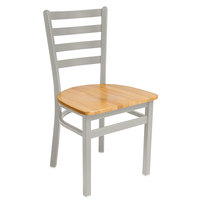 BFM Seating 2160CNTW-SM Lima Silver Mist Steel Side Chair with Natural Wooden Seat