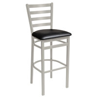 BFM Seating 2160BBLV-SM Lima Silver Mist Steel Bar Height Chair with 2 inch Black Vinyl Seat