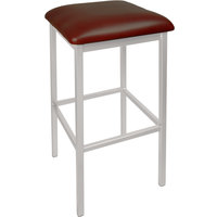 BFM Seating 2510BBUV-SM Trent Silver Mist Steel Bar Stool with 2 inch Burgundy Vinyl Seat