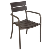 BFM Seating PH301CBR-BZ Bayview Bronze Stackable Aluminum Armchair with Brown Synthetic Teak Back and Seat