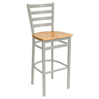BFM Seating 2160BNTW-SM Lima Silver Mist Steel Bar Height Chair with Natural Wooden Seat
