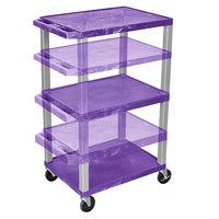 Luxor WT1642PE-N Purple Tuffy 3 Shelf Adjustable Height A/V Cart with Nickel Legs - 18 inch x 24 inch