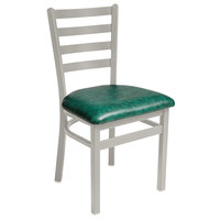 BFM Seating 2160CGNV-SM Lima Silver Mist Steel Side Chair with 2 inch Green Vinyl Seat