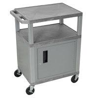 Luxor WT34GYC4E-N Gray Tuffy 2 Shelf A/V Cart with Nickel Legs and Locking Cabinet - 24 inch x 18 inch x 34 inch