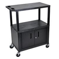 Luxor EC38C-B Black 3 Shelf Utility Cart with Cabinet - 32 inch x 18 inch x 37 1/2 inch