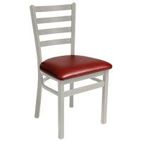 BFM Seating 2160CBUV-SM Lima Silver Mist Steel Side Chair with 2 inch Burgundy Vinyl Seat