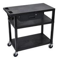 Luxor EA34DE-B 3 Shelf Black 35 1/4 inch x 18 inch x 34 1/2 inch Presentation Cart with Locking Drawer