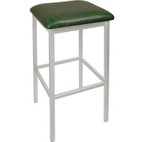 BFM Seating 2510BGNV-SM Trent Silver Mist Steel Bar Stool with 2 inch Green Vinyl Seat