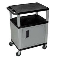 Luxor WT34C4E-N Black Tuffy 2 Shelf A/V Cart with Nickel Legs and Locking Cabinet - 24 inch x 18 inch x 34 inch