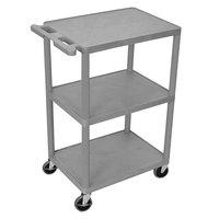 Luxor HE42-G Gray 3 Shelf Utility Cart