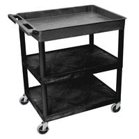 Luxor TC122-B Black 1 Tub, 2 Shelf Utility Cart - 32 inch x 24 inch x 35 inch