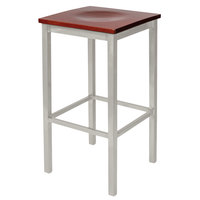 BFM Seating 2510BMHW-SM Trent Silver Mist Steel Bar Stool with Mahogany Wooden Seat