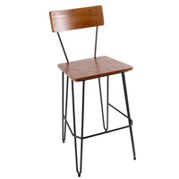 BFM Seating JS44BASH-AASB NV Barstool with Sand Black Steel Wire Frame and Autumn Ash Veneer Wood Seat and Back