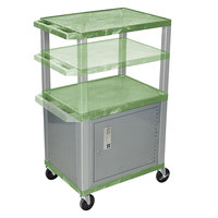 Luxor WT2642GC4E-N Green Tuffy 2 Shelf Adjustable Height A/V Cart with Nickel Legs and Locking Cabinet - 18 inch x 24 inch