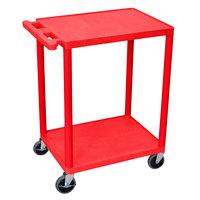 Luxor HE32-RD Red 2 Shelf Utility Cart