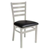 BFM Seating 2160CBLV-SM Lima Silver Mist Steel Side Chair with 2 inch Black Vinyl Seat
