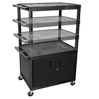 Luxor LEDUOC-B Black 2 Shelf Adjustable Height A/V Cart with Electrical Assembly and Locking Cabinet - 24 inch x 18 inch