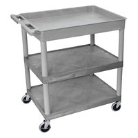 Luxor TC122-G Gray 1 Tub, 2 Shelf Utility Cart - 32 inch x 24 inch x 35 inch
