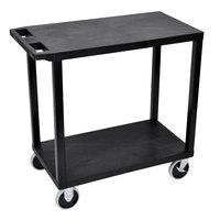 Luxor EC22HD-B Black Heavy-Duty 2 Flat Shelf Utility Cart - 35 1/4 inch x 18 inch x 31 1/2 inch