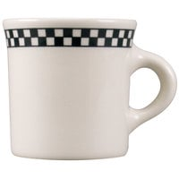 Homer Laughlin Black Checkers 8.75 oz. Creamy White / Off White China Mug - 36/Case