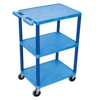 Luxor HE42-BU Blue 3 Shelf Utility Cart