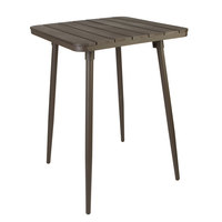 BFM Seating PH4L3232BR-BZT Bayview 32 inch Square Bar Height Table with Bronze Powder Coat Aluminum Frame and Brown Synthetic Teak Top
